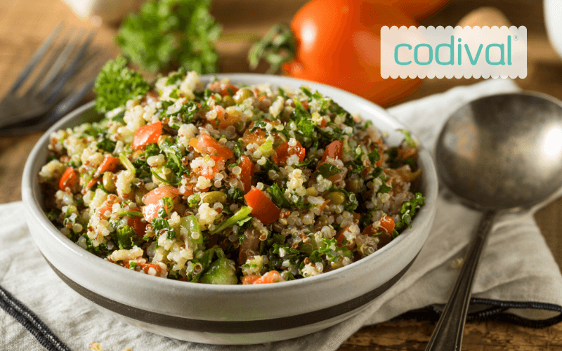 ingredientes quinoa bowl con verduras
